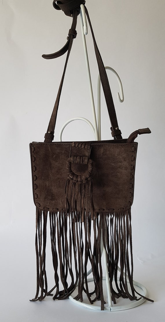 Boho cross body genuine suede bag with fringe