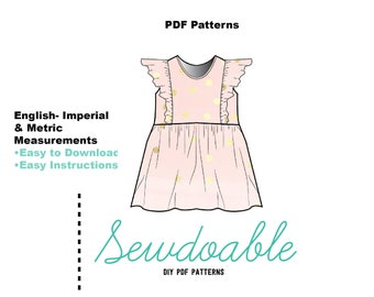 Flounce Dress PDF Pattern 3/6M- 6Y