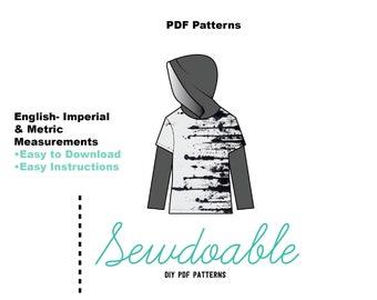Hooded Twofer Tee Pdf Pattern 3/6M- 6Y