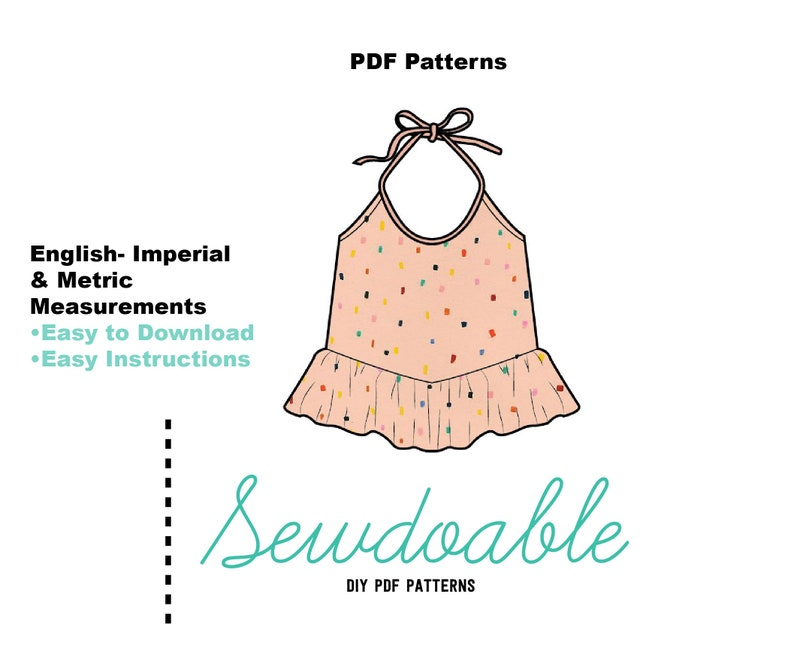 Girls Halter Top PDF Sewing Pattern/ Halter Tie Top PDF image 0