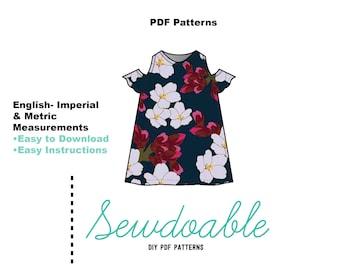 Cold Shoulder Dress PDF Pattern 18/24M- 7/8Y