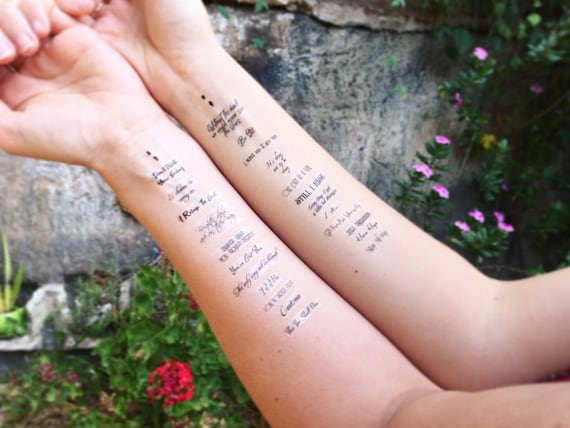 Suicide & Self-Harm Prevention Temporary Tattoo Pack, Including Semicolons,  Positive Affirmation Quotes and Motivational Self-Talk