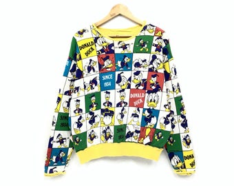 b43a1d98f45 Vintage 90 s Donald Duck sweatshirt Fullprint Disney Cartoon Vintage  Cartoon Sweatshirt pullover Jumper vintage men clothing