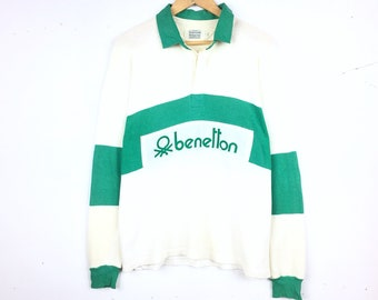 c2ac038c7c1 Vintage 90's BENETTON Rugby Long Sleeve Collar Half Button Biglogo Patches  Spellout Hard to Find Limited Edition Best of Benetton Vintagemen