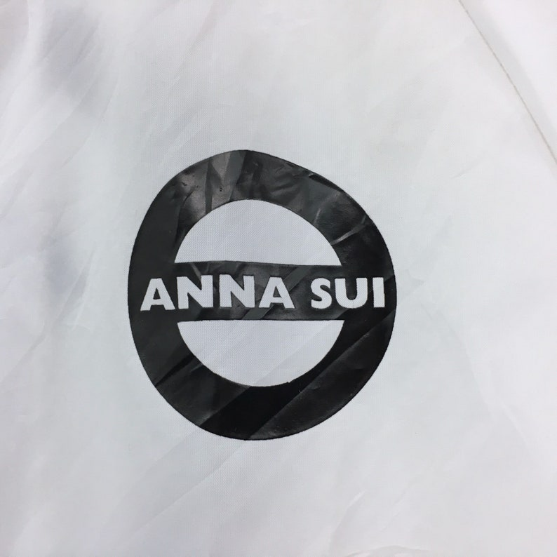Anna Sui Light Jacket Windbreaker Biglogo Button Up White Transparent Designer Anna Sui