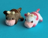 Needle felted miniature Strawberry Cow and Chocolate Cow– soft sculpture – art doll – phone charm – dust plug – bookmark
