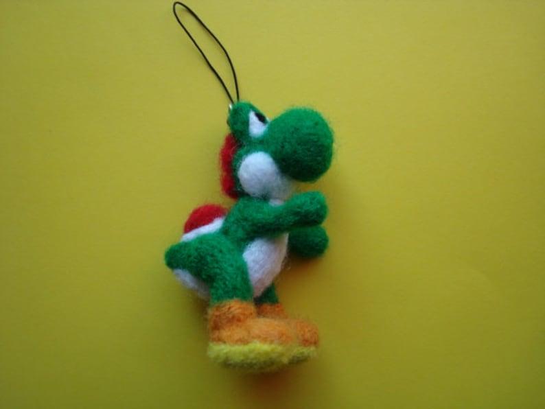 3bff125df7b82 Needle felted Yoshi Super Mario Bros. plush keychain   Etsy