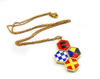 Custom Maritime Signal Flags Necklace - Gold, Silver or Black - Interchangeable Artwork