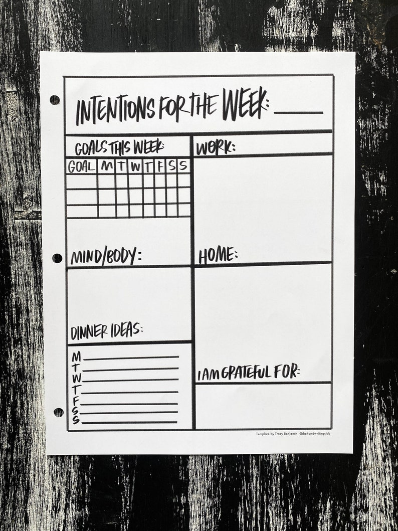 Intentions for the Week Printable image 0