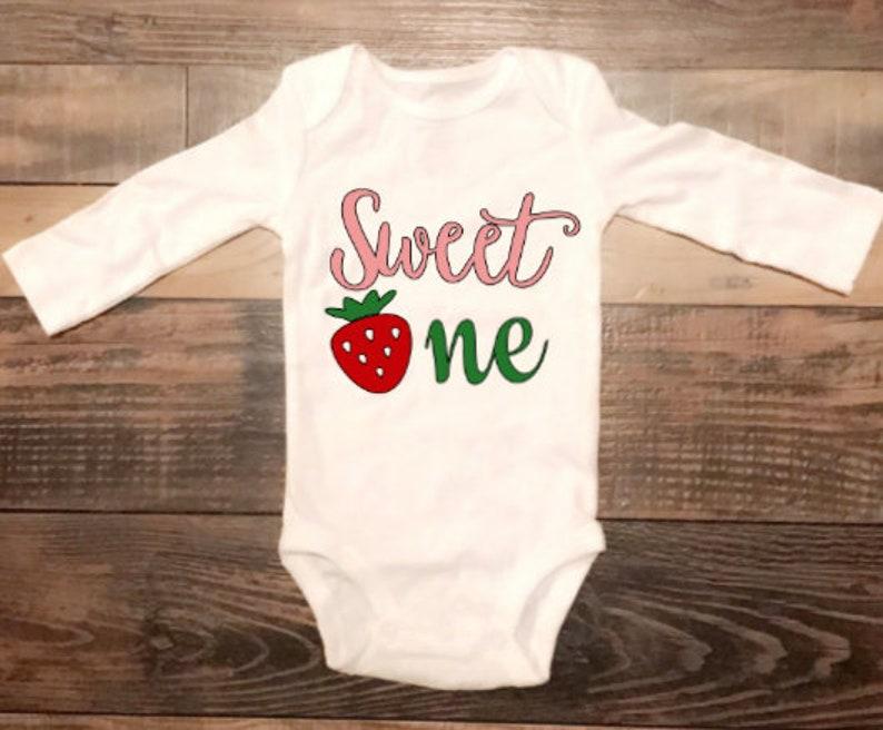 Strawberry Sweet One Onesie First Birthday Onesie Sweet One Baby Onesie