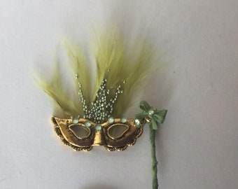 DollHouse 1:12 scale handmade Miniatures Ladies masquerade Venetian ball mask green