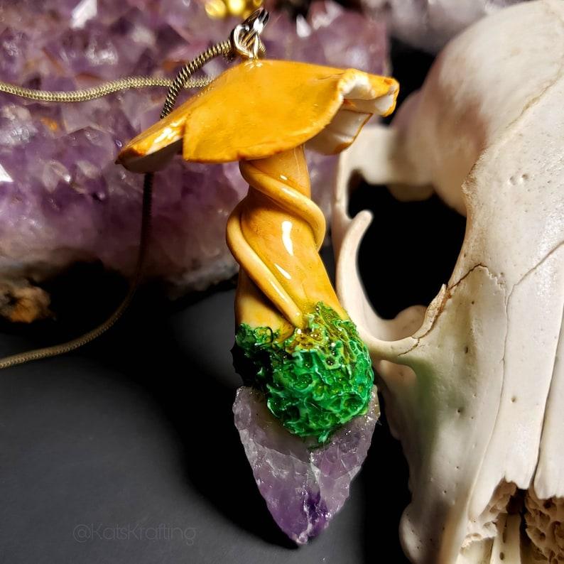 Mushroom and Amethyst Arrowhead Necklace