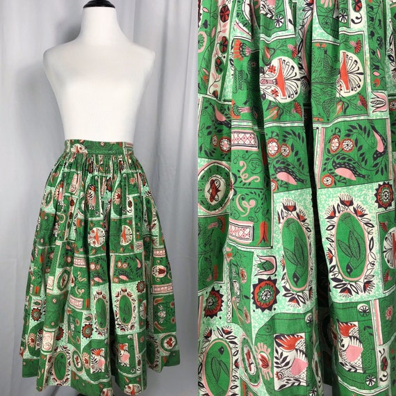 Vintage 1950's Green Novelty Print Skirt - image 1