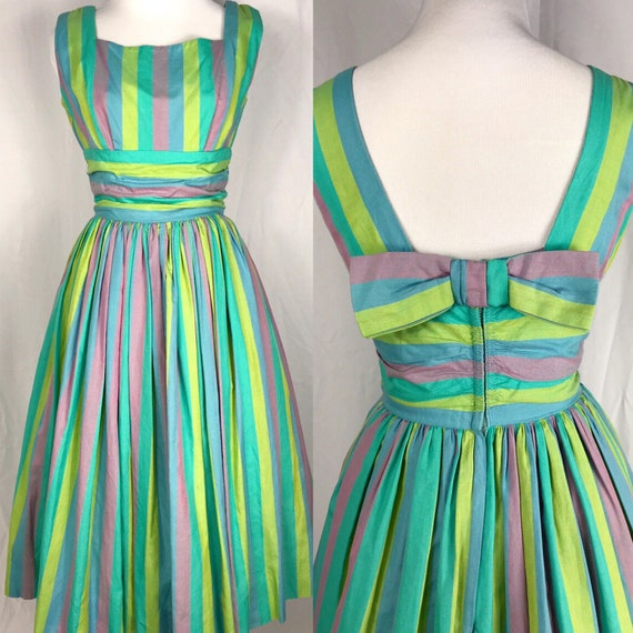 Vintage 1950's Pastel Rainbow Striped Dress by Phy