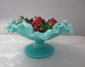 Vintage Fenton Silver Turquoise Round Compote Bowl, 7228, Aqua Milk Glass Compote, 1956 - 1959