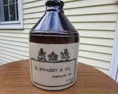 Antique 1890 39 s E. Swasey Co., Portland ME, U.S.A. Molasses Jug, 2 Quart Jug, Whiskey Jug, Antique Stoneware