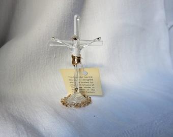 Miniature Hand Blown Glass Crucifix - The Glass House