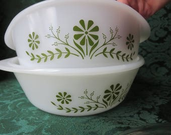 Set of Two (2) Glasbake Casserole Dishes White with Green Daisy Design