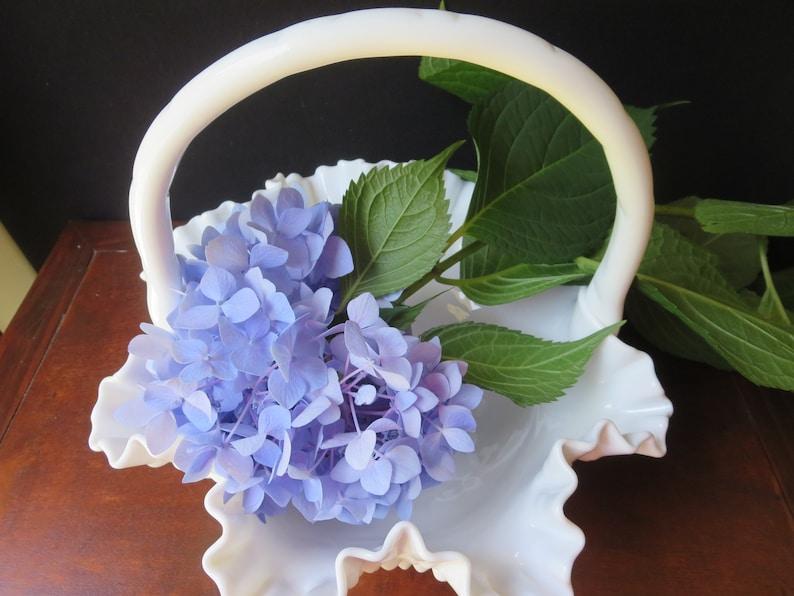 Bride/'s Basket Fenton Milk Glass Hobnail Large Basket Vase 11 12 Inches Wide