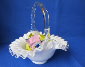 Fenton Silver Crest Handled Basket Crimped Edges Milk Glass and Crystal