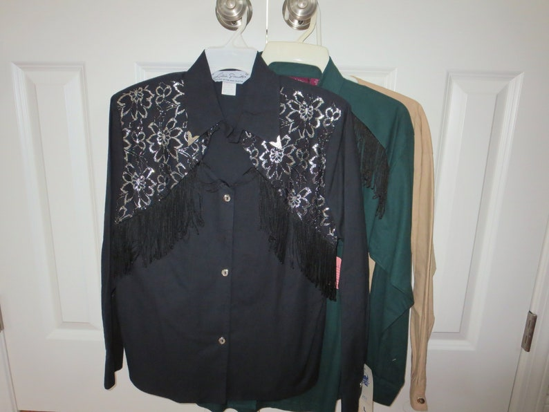 Women/'s Western Cowgirl Cotton Shirts Size Large and 1314 Gordon /& James Three Roughrider by Circle T Lilia Smith Fringe Shirts 3