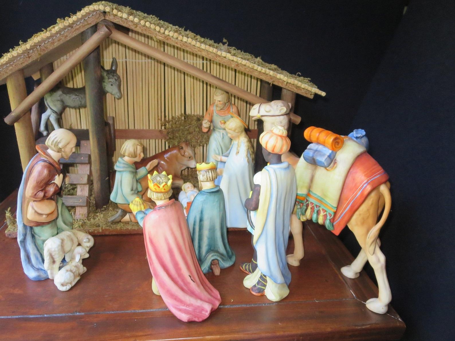Vintage Large Goebel Hummel Creche Figurines, Nativity Set, #214, 11 Pieces Including Standing Camel, Signed M.I. Hummel, 1960's TMK-4 Mark