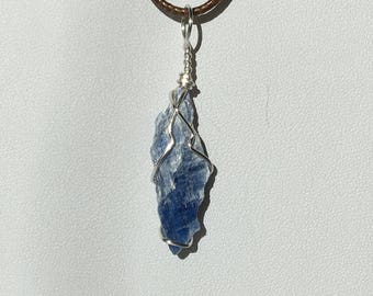 Blue Kyanite Wire Wrapped Pendant. Silver wire