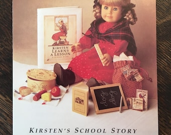 """1st Version Without School Bench! Rare American Girl """"Kirsten's School Story"""" Pamphlet, 1991 Pleasant Company"""