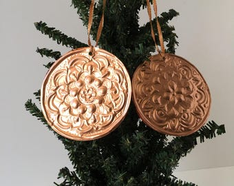 Handmade Copper Ornaments, Mandala Art, Meditation, Zen, Sacred, Christmas Ornaments, Double-sided, Lightweight, Unique, Two Ornaments