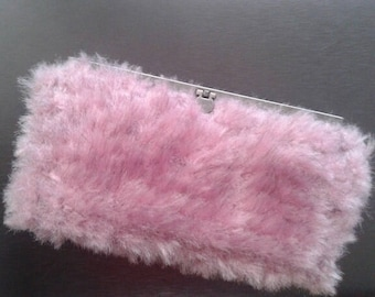 Pink knitted clutch/purse