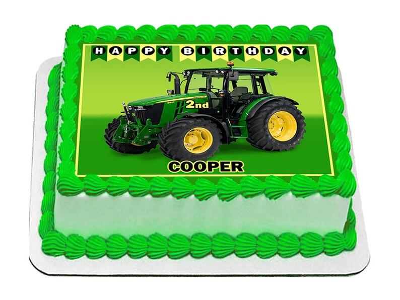 Tractor John Deere Edible Icing Image Cake Decoration Birthday