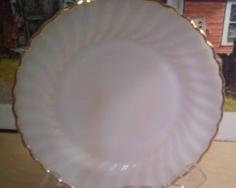 "Lot Of 6 Fireking anniversary gold trim 10"" dinner plates"