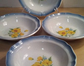 "4- 7 1/4"" Mikasa Country Club Amy Bowls Minty"