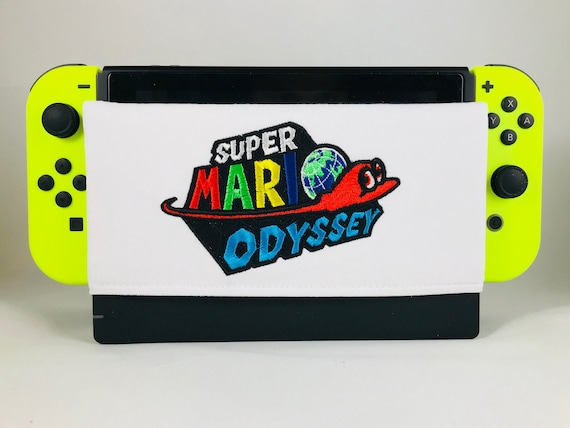 Embroidery Super Mario Odyssey Nintendo Switch Screen Protector Nintendo Switch Dock Cover Dock Sleeve Dock Sock Micro Suede Cloth