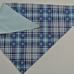 blue and white plaid snowflake reversible bandana for dog // cat // puppy // winter // holiday // christmas // handmade // gift // pet lover