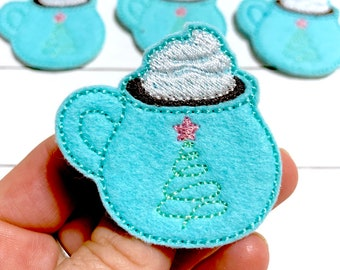 Cake Decorating Bow Center Felt Stitchies Bow embellishments- Scrapbooking Hot Coffee Feltie