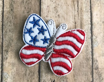 July 4th Embroidered Iron On Applique Patch Butterfly USA Patriotic