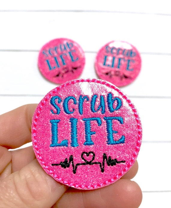 Planner Clip Glitter Scrub Life Heart Feltie Lanyard Medical Badge Reel