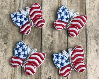 PATRIOTIC BUTTERFLY Feltie, Cut or Uncut Felties, 4th July Butterfly, Independence Day Feltie, July 4th feltie, Patriotic Feltie, Crafter
