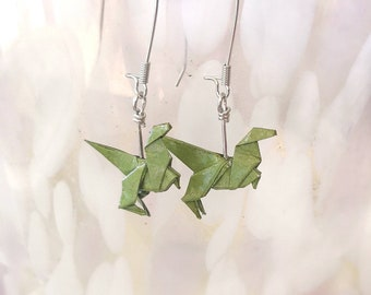 Origami Dinosaur Earrings Earring Cute Jewelry Paper Gift For Her Best Friend Birthday