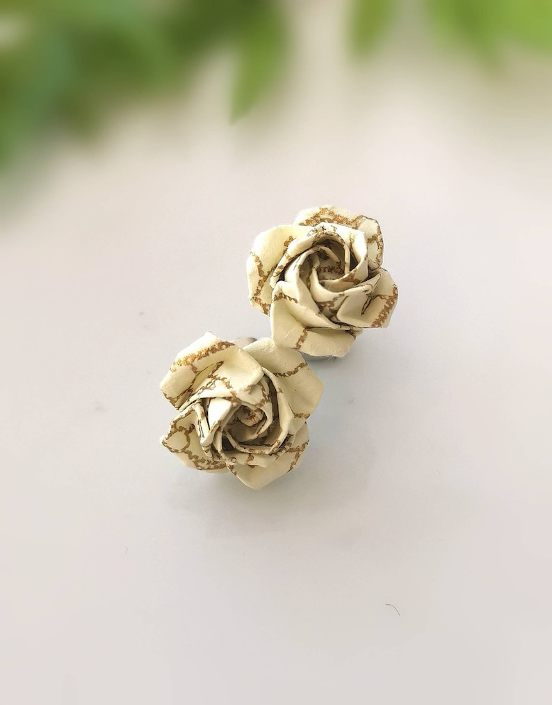 Anniversary Gift Best Friend Simple Earrings Origami Jewelry Tiny Flower Studs Birthday Gift Origami Rose Post Earrings Paper Rose