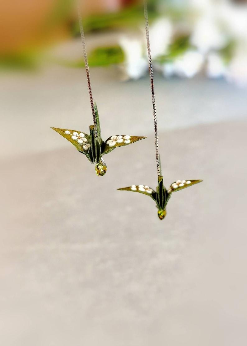 Origami Crane Earrings Paper Jewellery Anniversary Sterling Silver Threader earrings Bridesmaids Luck Bird Earrings Birthday Gift