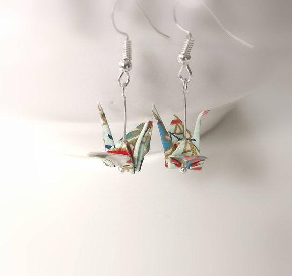 Origami Earrings,Origami Crane Earrings,Japanese Jewelry,Freshwater pearl,Pearl,Japanese paper,Dangle Earrings,Japan,Gift for her