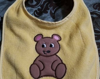 Yellow Baby Bib with Brown Appliqued Bear