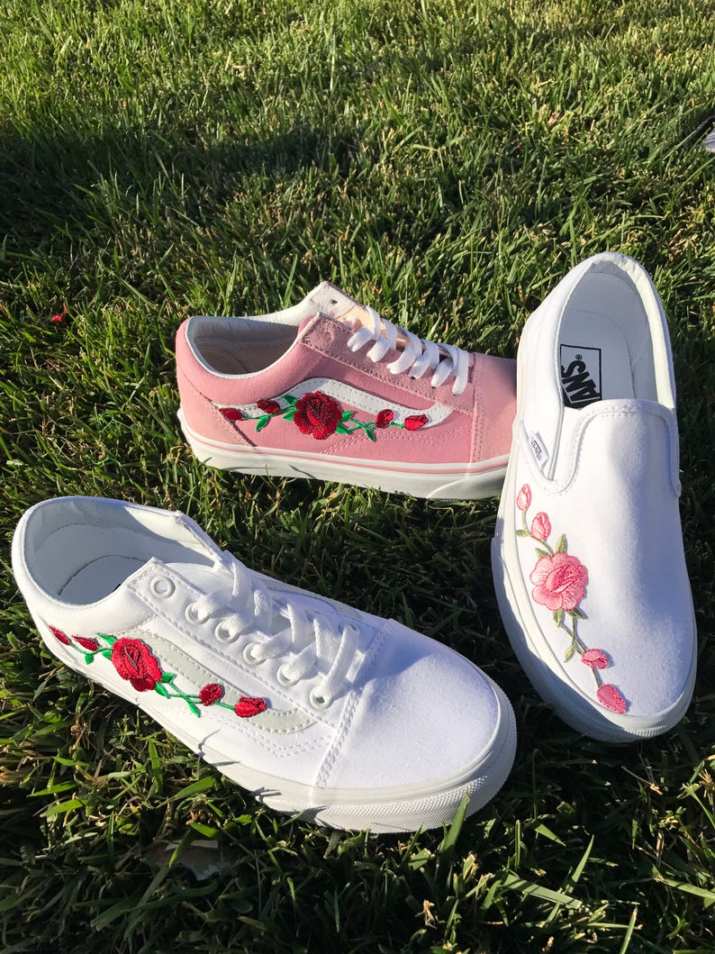 Custom Rose Embroidered Vans image 0