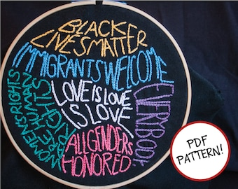 What We Believe Embroidery Pattern - Social Justice Embroidery Pattern - Feminist Embroidery Pattern