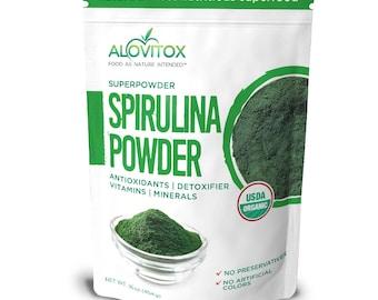 Organic Spirulina Powder by Alovitox - Calcium Rich, Gluten Free Powder, Smoothie Booster, Powerful Antioxidant, Healthy Shake Powder
