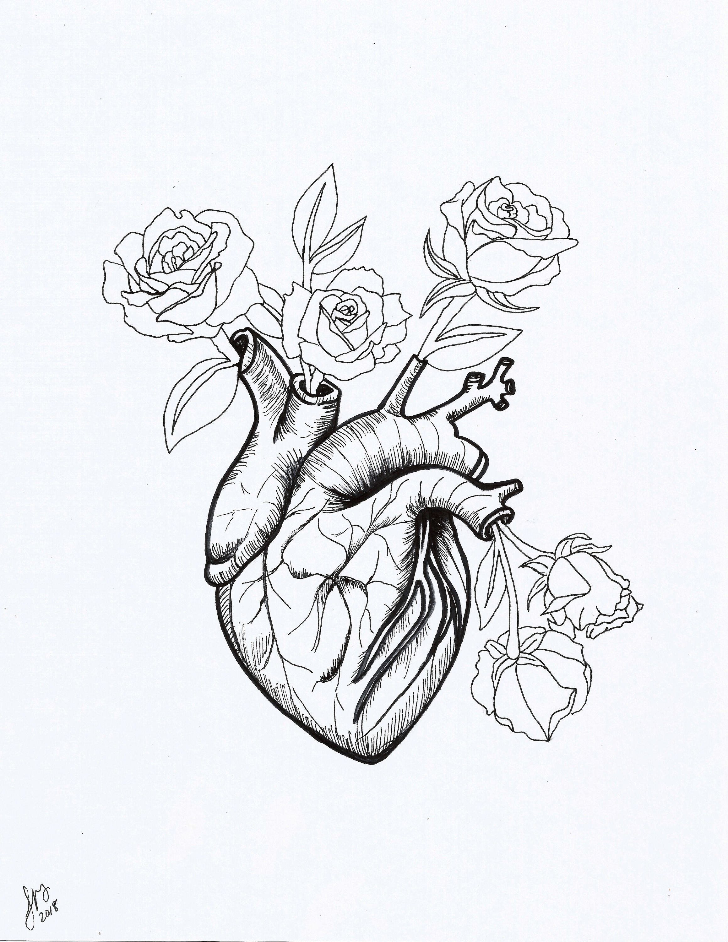 Heart And Flowers Art Print Printable Art Pen And Ink Etsy