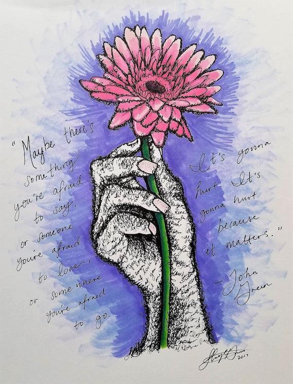 Main Tenant Une Fleur Art Print John Green Citation