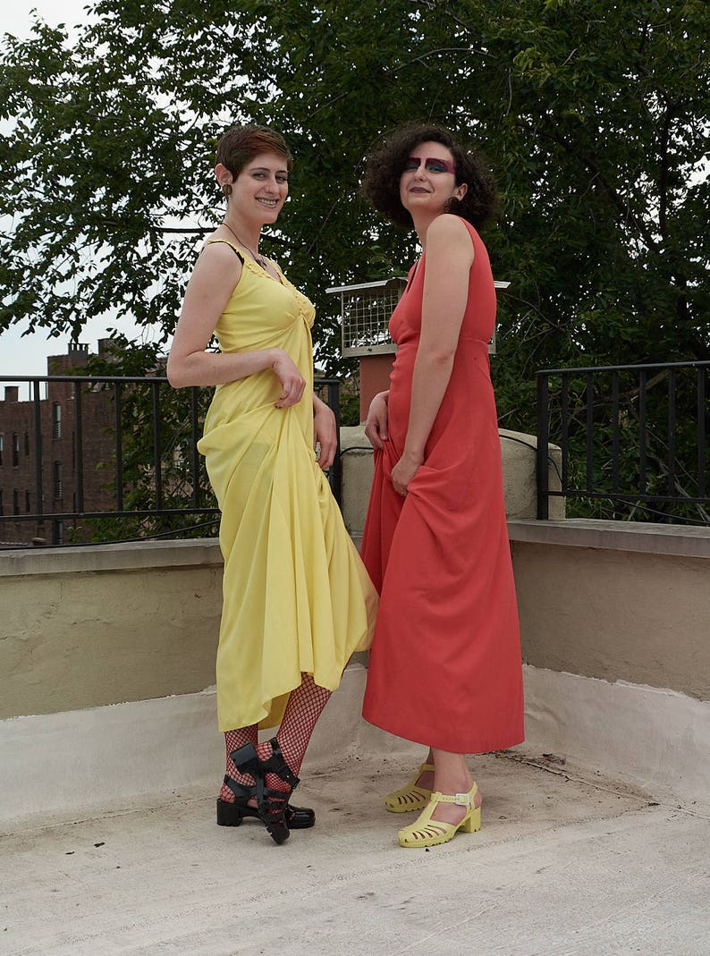 73cf2b678d2 Vintage 70s   80s Long Yellow Dress   Sundress   Lace 1970s